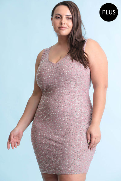 Pink Plus Size Midi Party Dress