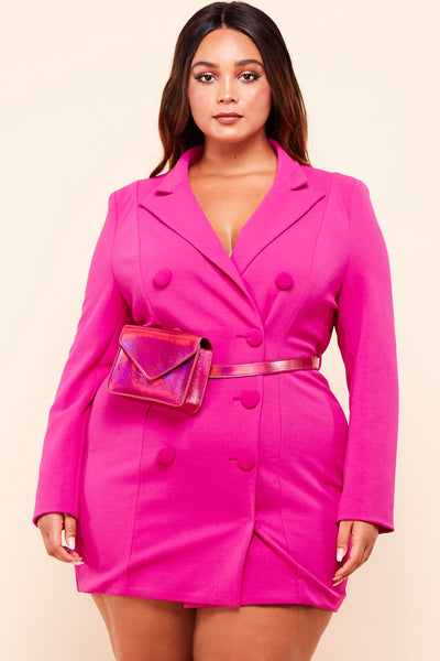Plus Size Hot Pink Blazer Dress