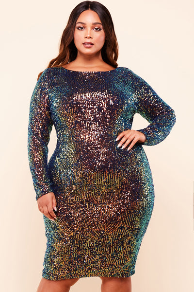 Random Multi Sequin Knee Length Dress