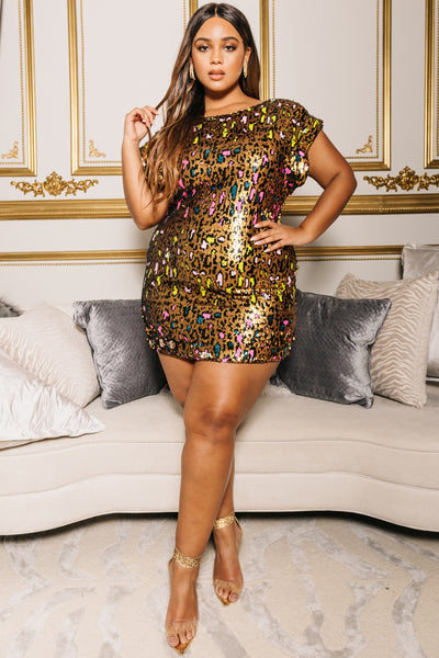Plus Size Multi Neon Gold Sequin Leopard Mini Dress