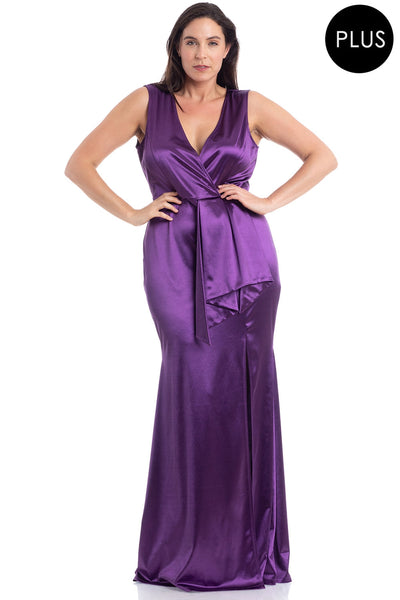 Plus Size Ruffled Sleeveless Satin Maxi Dress