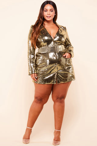 Nikki Plus Size Gold Sequin Blazer Dress