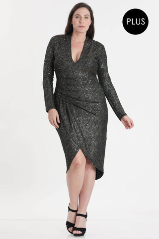Ida Glitter Plus Size Tulip Party Dress