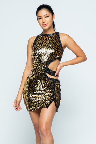Princess Animal Pattern Gold Sequin Dress