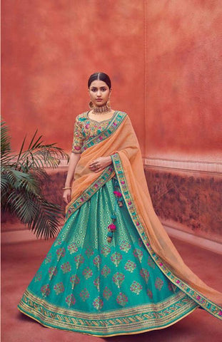 Teal Blue and Peach Silk Wedding Wear Lehenga