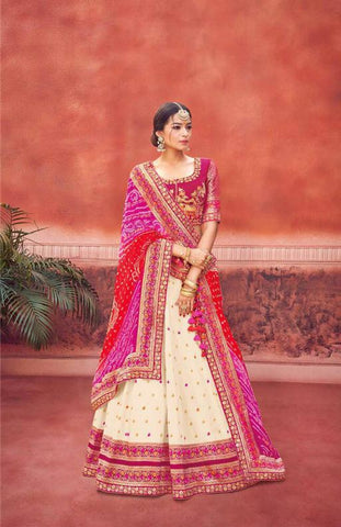 Pink and Off White Silk Wedding Wear Lehenga
