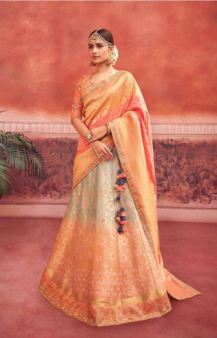 Peach and Grey Silk Wedding Wear Lehenga