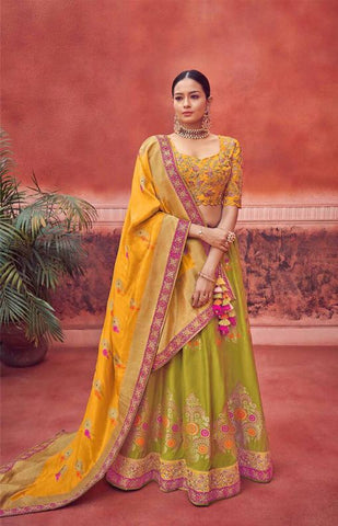 Yellow and Green Silk Wedding Wear Lehenga