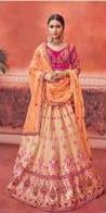 Pink and Peach Silk Wedding Wear Lehenga