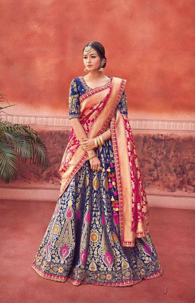 Classic Navy And Pink Silk Wedding Wear Lehenga