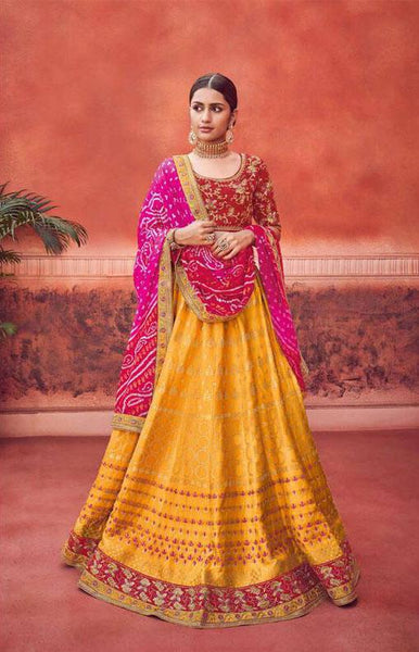 Yellow And red Silk Wedding Wear Lehenga