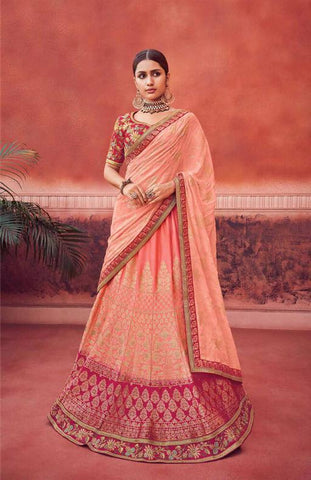 Peach Hue Silk Wedding Wear Lehenga