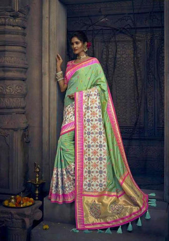 Green and Pink Mirror Work Banarasi Silk Saree