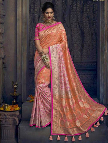 Peach Pure Dola Silk Saree