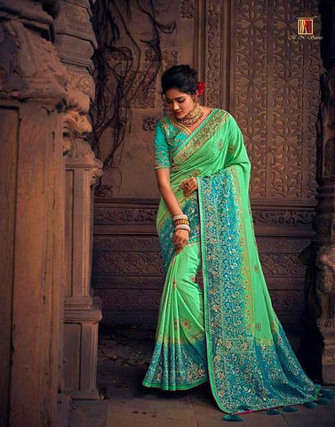 Green Hue Pure Dola Silk Saree