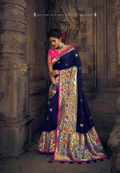 Heavy Navy Blue Pure Dola Silk Saree