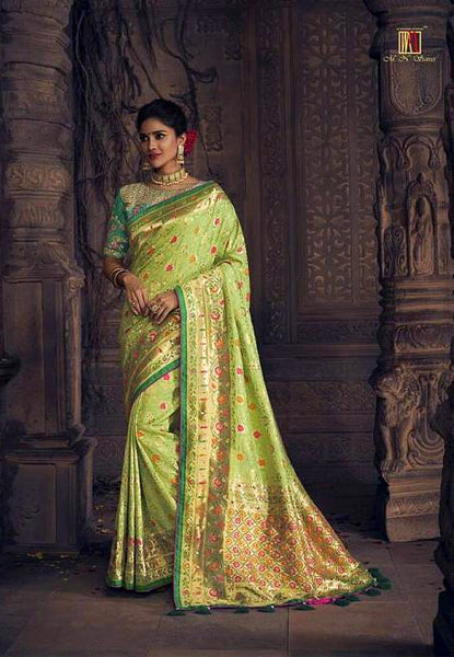 Heavy Pista Green Pure Dola Silk Saree
