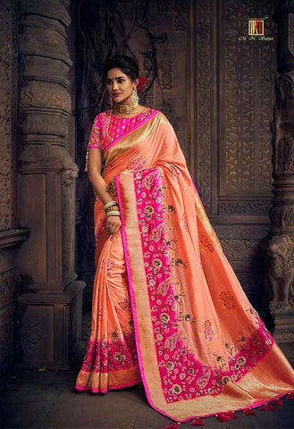 Heavy Pink Hue Pure Dola Silk Saree