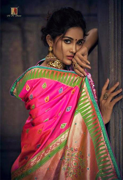 Rani Banarasi Silk Mirror Work Saree