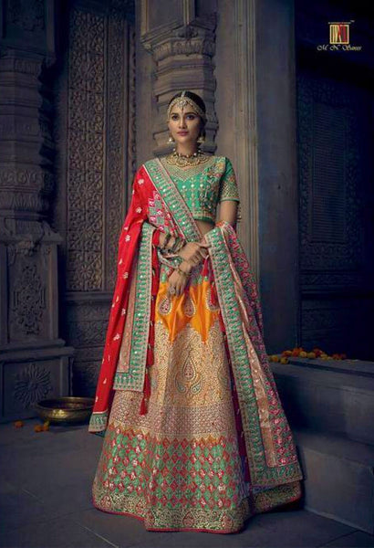 Gold Heavy Banaras Silk Handwork Bridal Lehenga