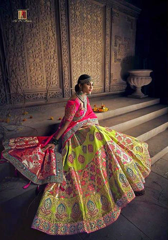 Parrot Green and Pink Banarasi Silk Handwork Bridal Lehenga