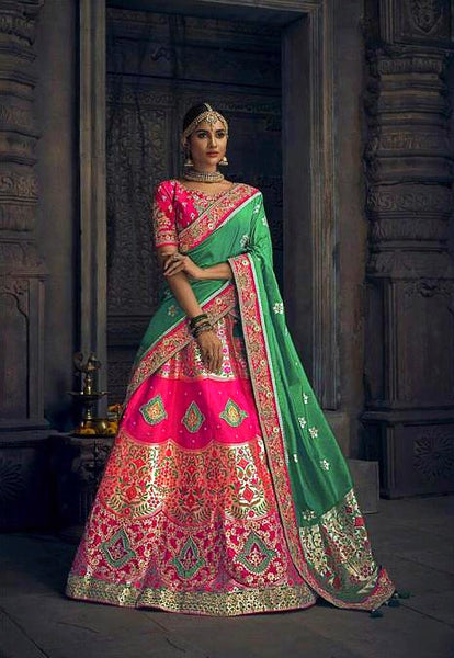Rani and Green Banarasi Silk Handwork Bridal Lehenga