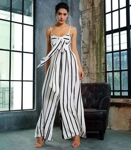 Zingfy Black And White Stripes Loose Jumpsuit