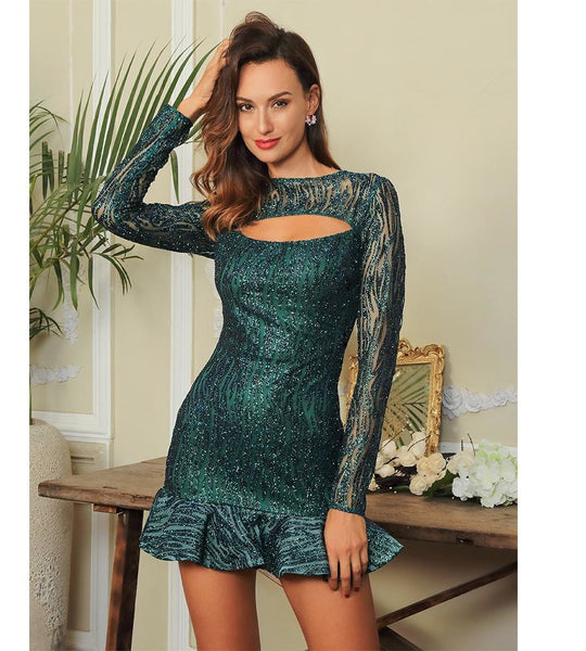 Katrina Sexy Green Ruffled  Glitter Glue Bodycon Dress