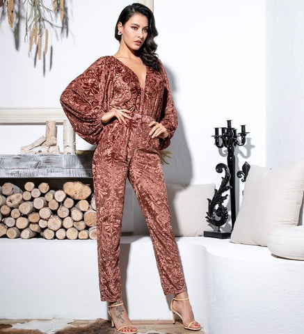 Nicki Velvet Jacquard High Waist Jumpsuit