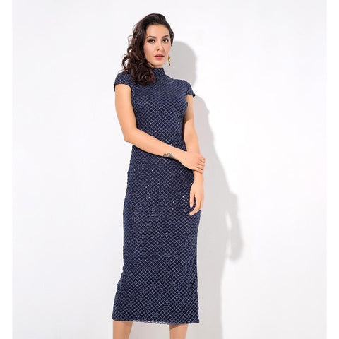 Glitter Dreams Navy Midi Dress