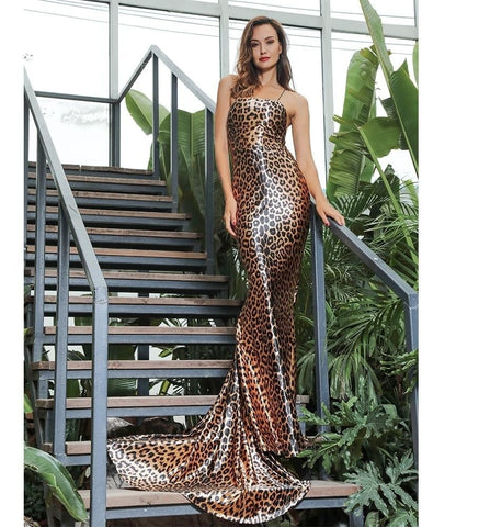 Strapless Leopard Print Resort Wear Long Dress