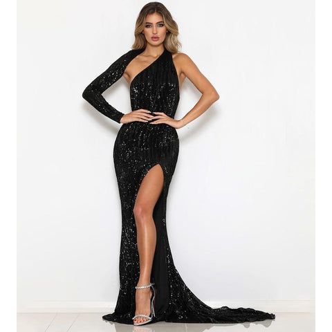 Sexy Black One Shoulder Elastic Sequined Bodycon  Long Dress