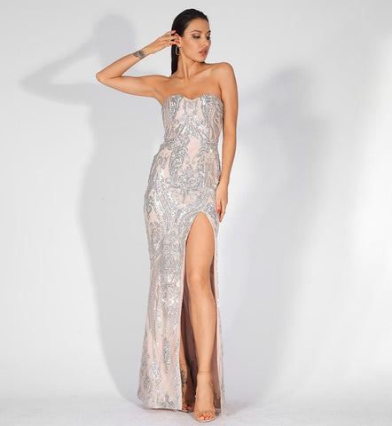 Katrina Sexy Strapless Sequin Bodycon Long Dress