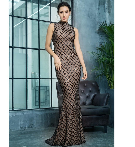 Plaid Sequin Floor Length Dress