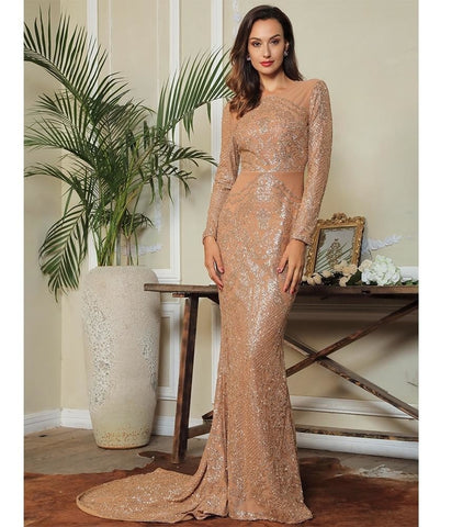 Cocktail Queen Gold Glitter Bodycon Long Dress