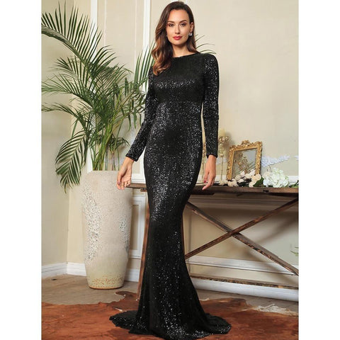 Black Sequins Party Long Dress