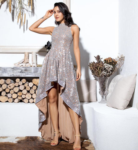 Sexy Silver Floral Pattern Glitter Sleeveless Party Dress