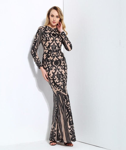 Black Geometric Sequin Gown