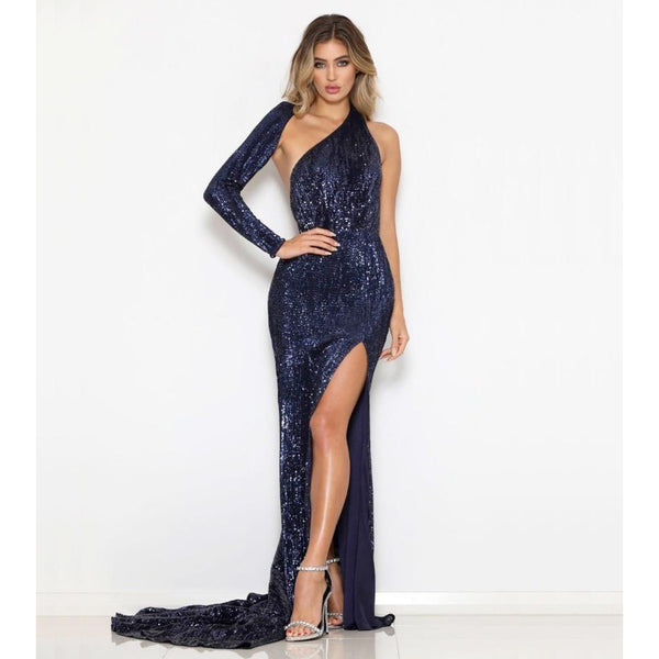 Sexy One Shoulder Elastic Sequin Bodycon  Long Dress