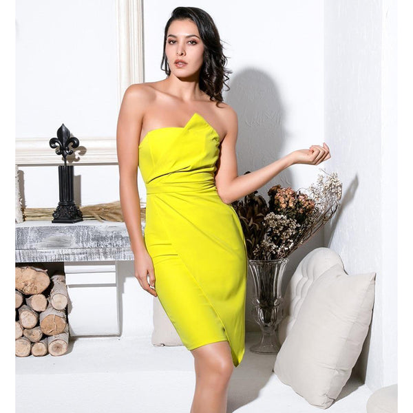 Sexy Yellow Solid Bodycon Party Dress