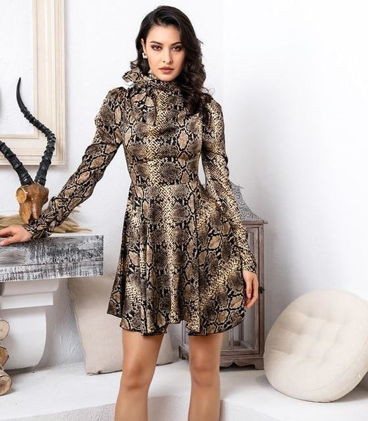Turtleneck Snake Pattern Dress