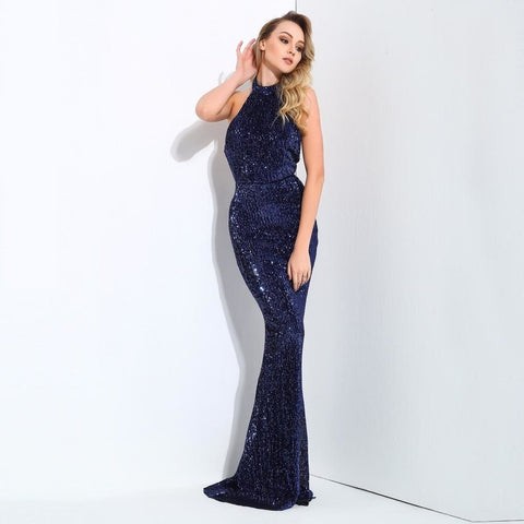Sexy Navy Sequin Open Back Gown