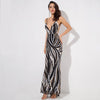 Sexy Plunge Neckline Stripe Sequins Long Dress With Open Back