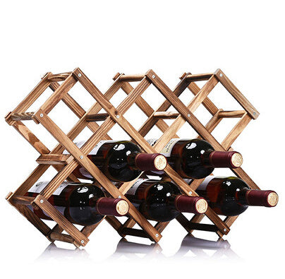 Squared Dark Wood Stand 10 bottles - louonvine