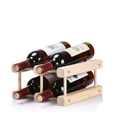 Squared Dark Wood Stand 4 bottles - louonvine
