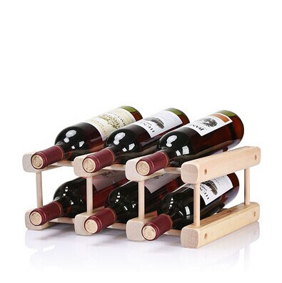 Squared Wood Stand 6 bottles - louonvine