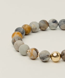 CREATION BRACELET WITH PICASSO JASPER & 14K GOLD