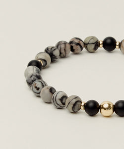 UNIVERSAL ENERGY BRACELET WITH MAP JASPER, ONYX & 14K GOLD