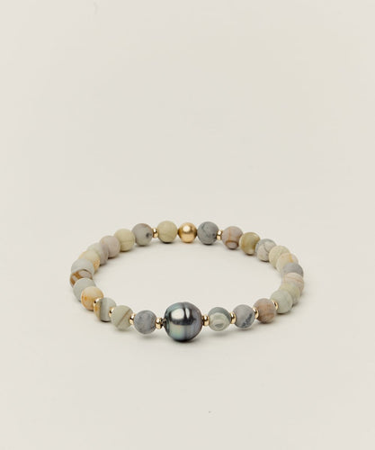 TAHITIAN NOBLE BRACELET WITH TAHITIAN PEARL, PICASSO JASPER & 14K GOLD