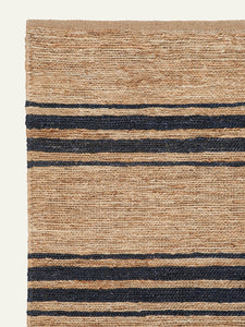 RIVER TICKING RUNNER IN NATURAL & INDIGO, 3' X 8'